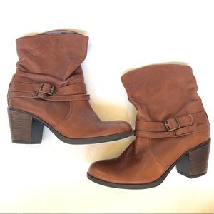 Aldo Brown Leather Double Buckle Ankle Boots